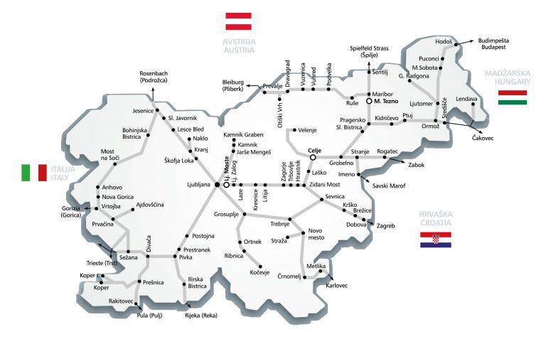 Réseau de train Slovénie